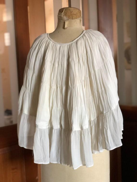 1930s silk georgette ruched bridal cape
