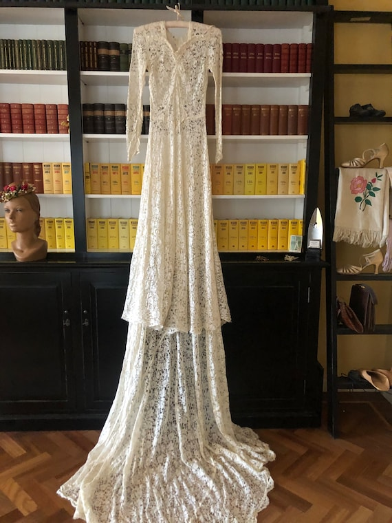 As-is 1930s injured lace bride gown