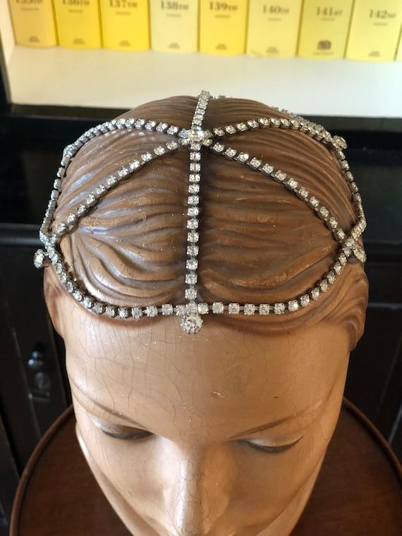 1920s rhinestone flapper Juliet cap