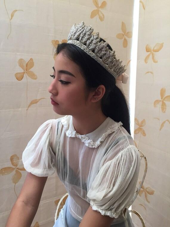 1920s heavily beaded crown tiara perfect bridal he