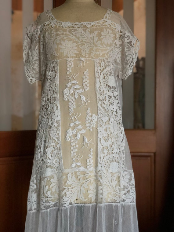 1920s embroidered tulle and lace bride dress