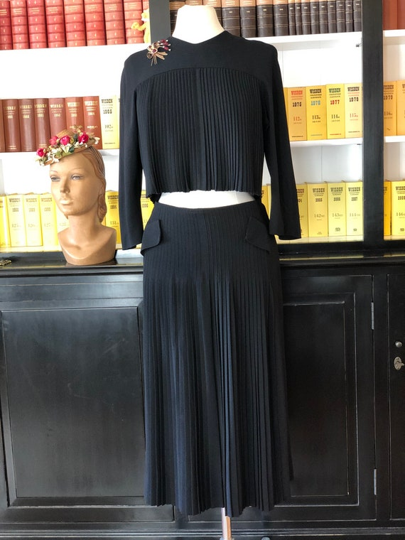 1950s pleated crepe top and skirt.