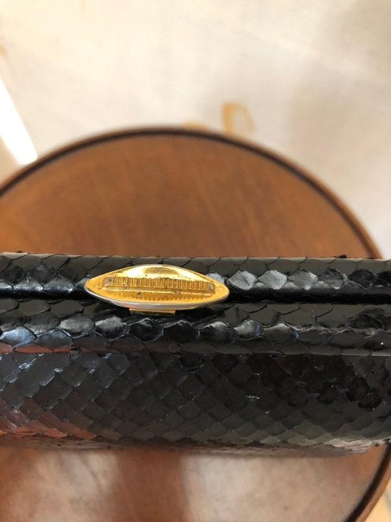 1940s small kelly style snakeskin handbag - image 10