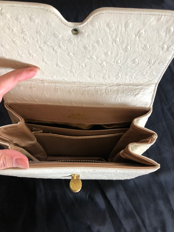 1950s vintage ostrich leather evening purse - image 3