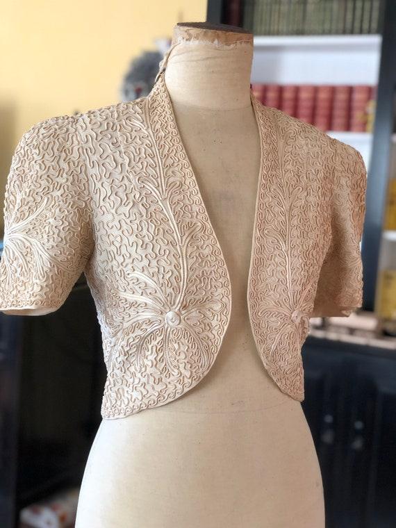 1940s cornelli work embroidered crepe bolero