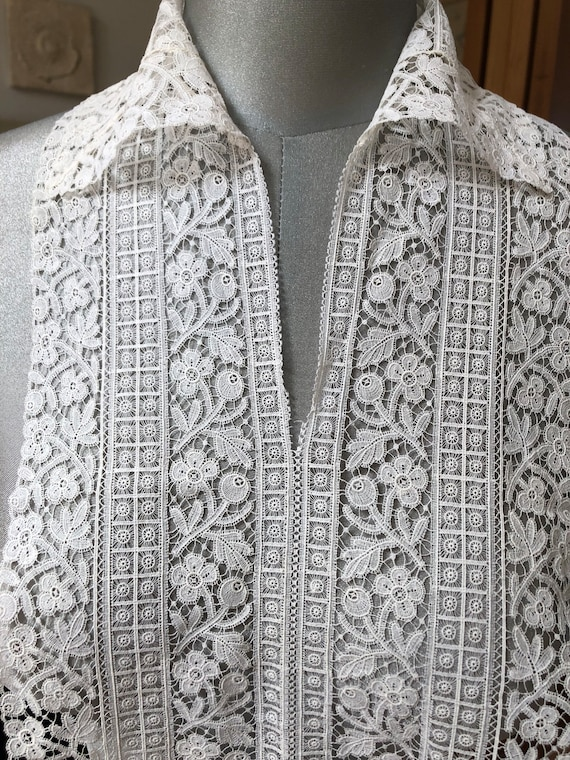 Antique lace collar and bib - image 6