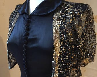 1920s vintage heavy silk satin evening gown with sequinned bolero.