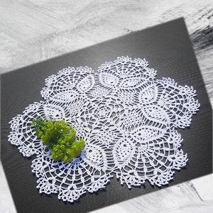 Doilycrochet doilycotton crocheted doilyWhite doilytable clothhome decorationChristmas giftcrochet lace doilygiftFree shipping