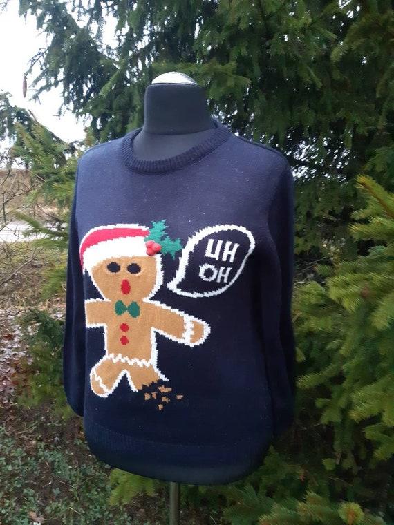 Vintage sweater/Dark blue Christmas Sweater/ Sweat