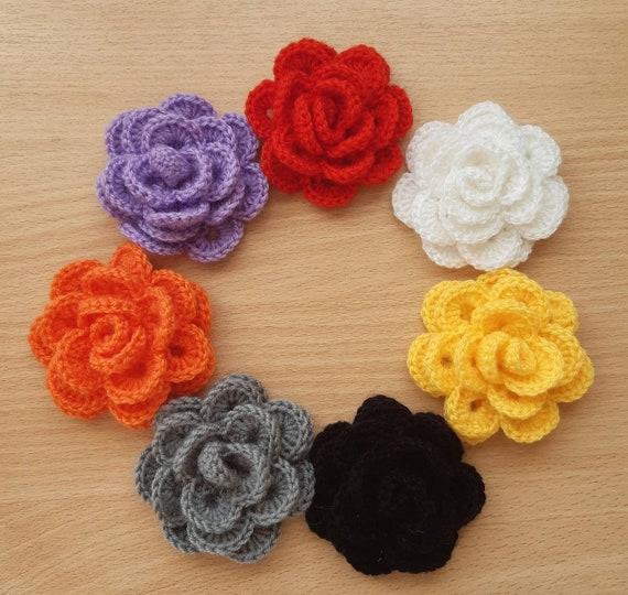"handmade crocheted flowers acrylic yellow 9 cm 3.5/"" pack of 3"