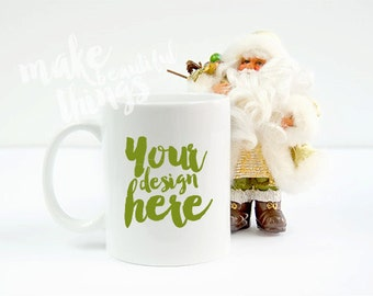 Download Free White mug mockup Mugs for Holidays / Christmas Santa's theme PSD Template