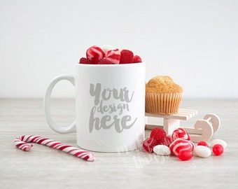 Download Free White mug mockup / Styled stock photography / Instant download / Mugs for Holidays / Christmas candy theme PSD Template