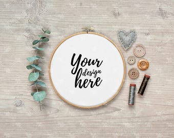 Download Free Embroidery hoop mockup / Styled stock photography PSD Template