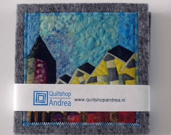 set of 4 coasters with pictures of art quilts, Rotterdam