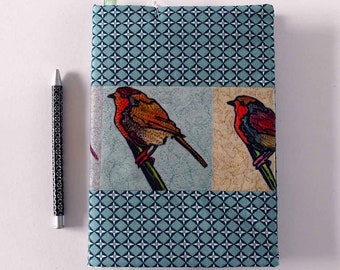Large fabric covered notebook with robins (lined)