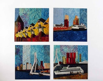 set of 4 different cards with pictures of Rotterdam