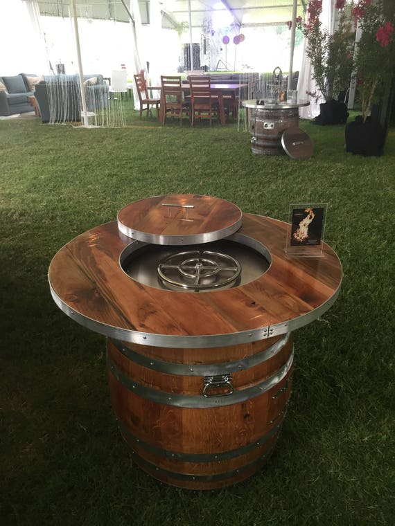 image 0 - Wine Barrel Fire Pit Wood Plank Table Etsy