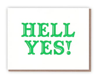 Hell Yes! Card // Letterpress
