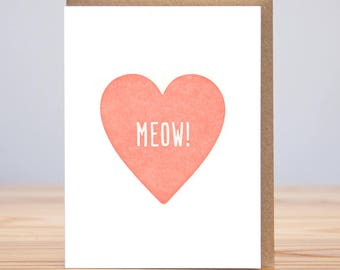 Meow! Heart // Letterpress