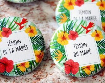 Duo gift wedding witness opener tropical islands theme Pocket mirror