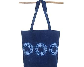 Boho chic tote bag,  Indigo Shibori handbag natural indigo dye, blue casual tote bag, Handmade handbag, Beach bag, Yoga tote bag. Summer bag