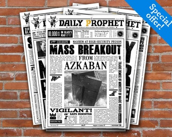 Harry Potter Daily Prophet Printable Covers - Harry Potter Newspaper Fourth Pack