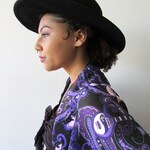 Paisley Prince Songbook chiffon scarf, purple and black fashion accessory, Scarf for Prince admirers.