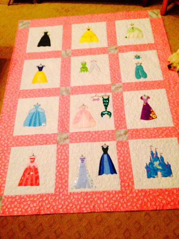 Disney Princess Inspired Machine Embroidery Applique Quilt Etsy