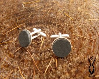 Silver Plated Slate Cufflinks