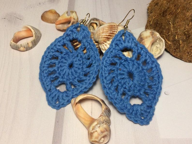 Orecchino Uncinetto Orecchini Ovali Blu Jeans Boho Orecchini Etsy