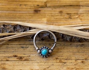 Silver 925 - Turquoise - Septum 1.2mm (16g) - For pierced nose