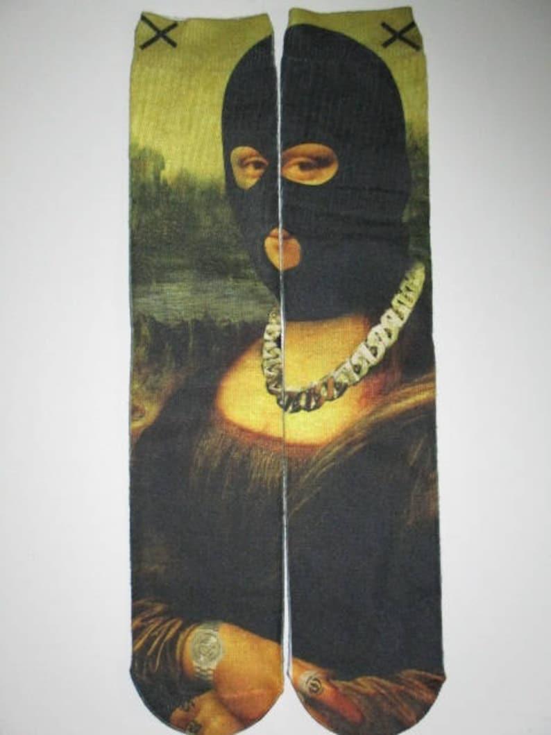 gangsta mona lisa novelty socks buy any 3 pairs get the 4th pair free