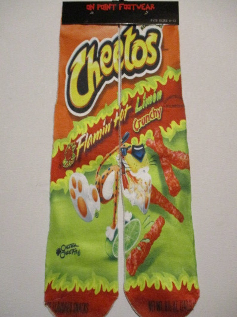 flamin hot cheetos with LIME SOCKS buy any 3 pairs get the 4th pair free novelty footwear