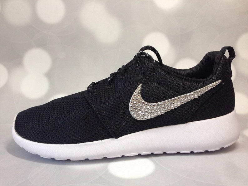 online retailer cfac6 64aa6 Black Nike Roshe One / Embellished with Swarovski Crystals / Bling Nikes  Size 5 **READY TO SHIP**