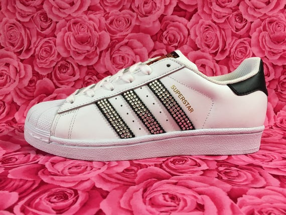 Womens Adidas Originals Superstar in White   Black Embellished  f5ec6c3a50dd