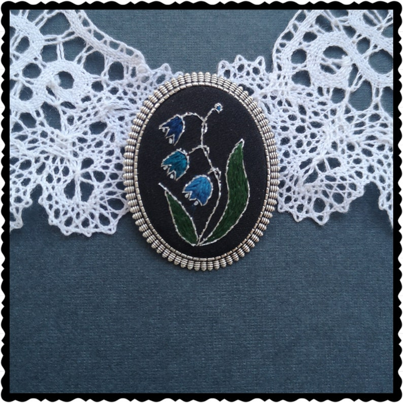 Blue Lily of the valley brooch image 0