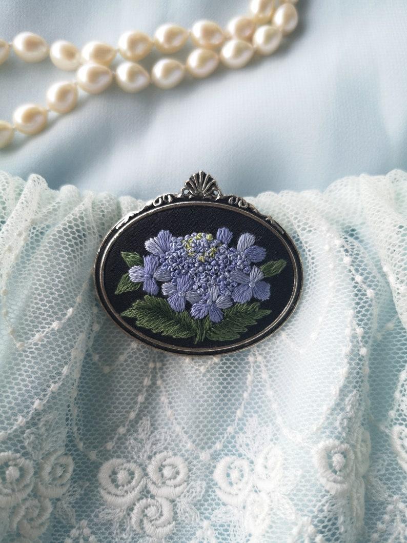 Sky blue hydrangea brooch 1 image 0