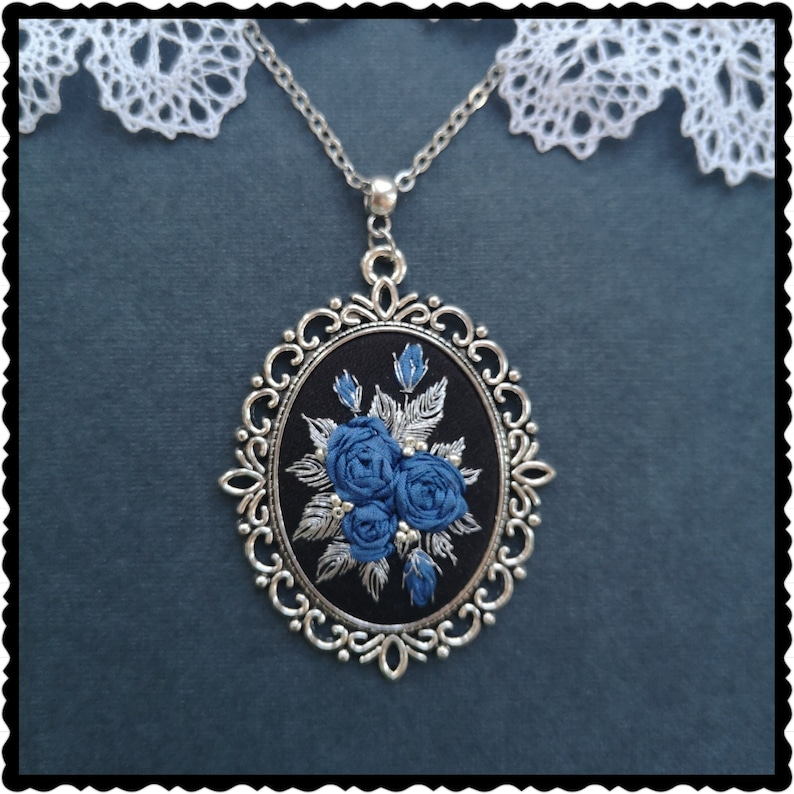 Blue roses and silver necklace image 0