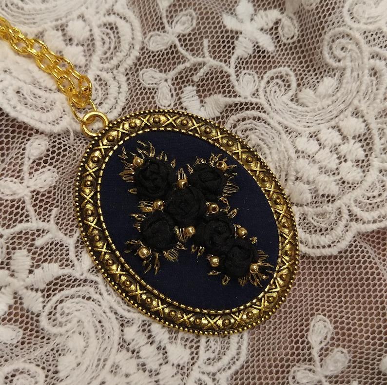 BRC1 Black roses cross necklace image 0