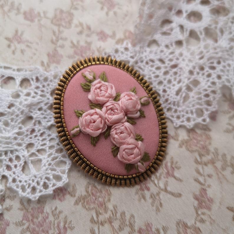 Pink roses cross brooch image 0