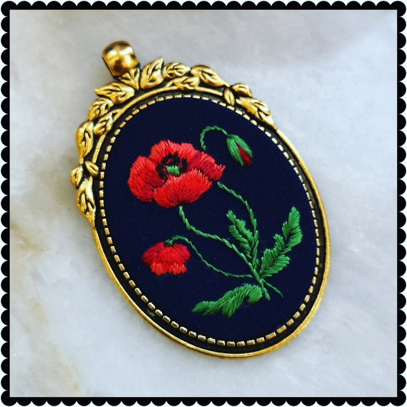 RP1 Red poppy necklace image 0