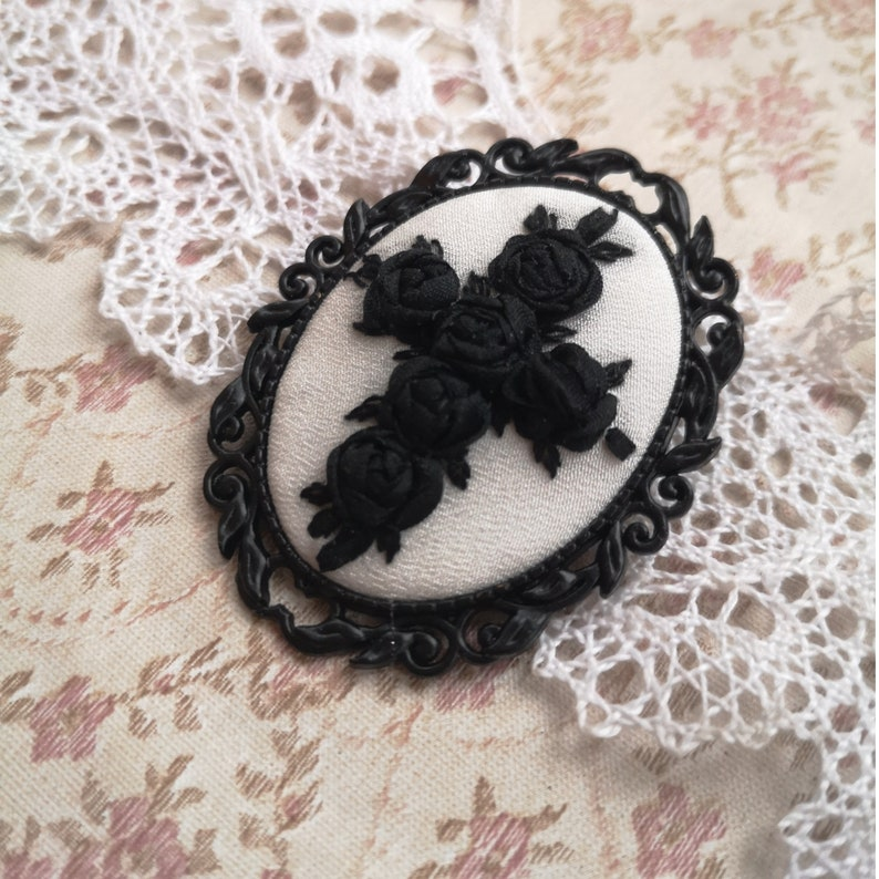 Black roses cross brooch image 0