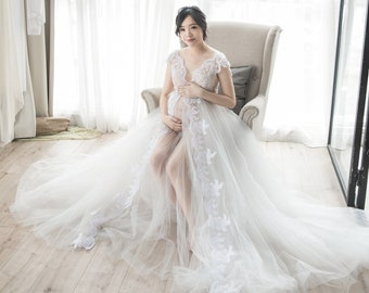 Long white lace maternity dress, pregnancy gown for photoshoot, maternity gown, maternity dress, maternity photo