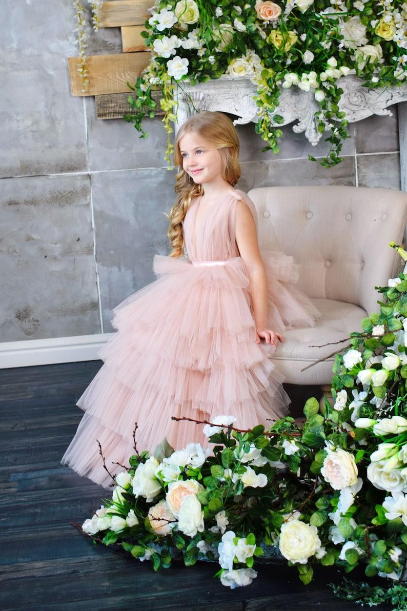 Flower girl dress Dress for girls Tutu dress Baby light pink dress Christmas dress Party dress First Birthday dress Princess dress