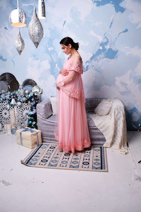 Long Pink Lace Maternity Dress Baby Shower Dress Maternity Gown Photo Shoot Maternity Dress Maternity Photo Photoshoot Pregnancy