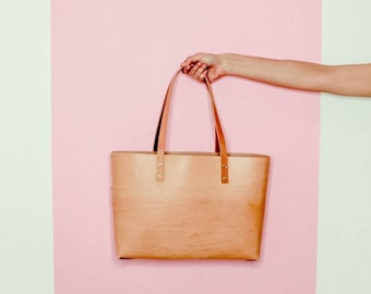 Natural Leather Tote Bag. Italian vegetable tanned leather
