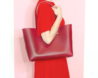 Red Leather Tote Bag. Italian vegetable tanned leather