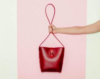 Red Leather Stud Bucket Bag. Minimal Crossbody bag. Italian vegetable tanned leather