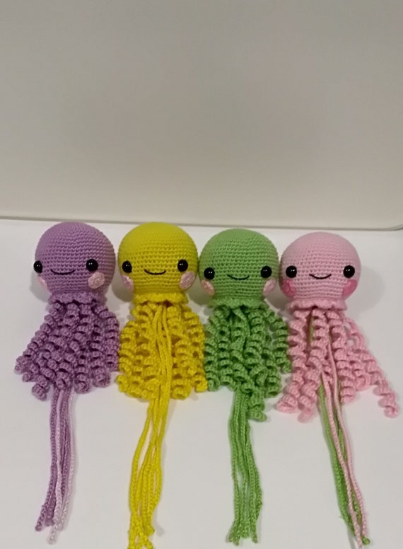 """Amigurumi Hand Crocheted Octopus Doll Made to order Many colors 4/"""" Doll Red Pink"""