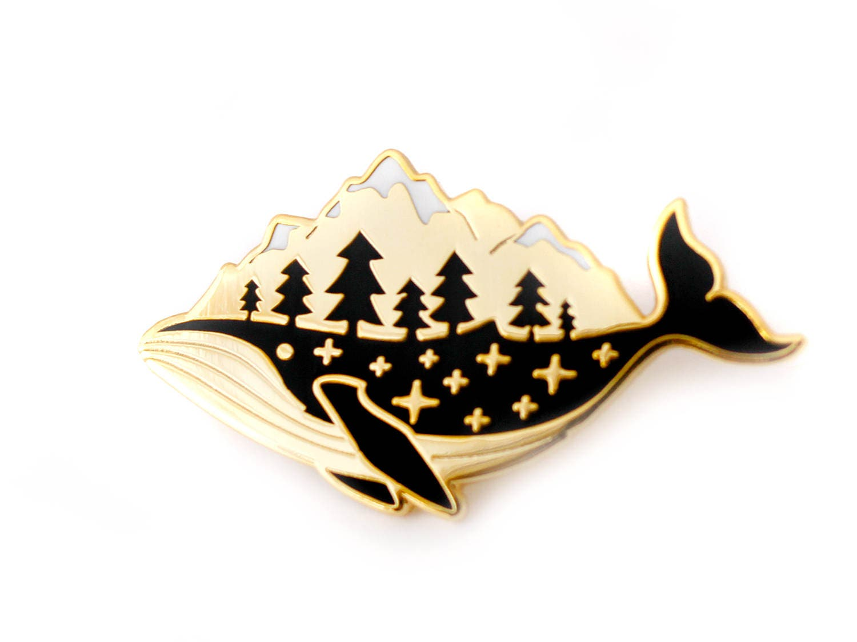 Gold Whale Enamel Pin hard enamel pin lapel pin badge ...
